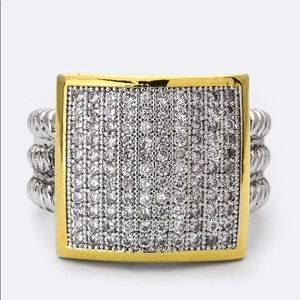 Pave CZ Square Ring